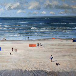 Zomerdag | strandgezicht schilderij in olieverf van Herman van Hoogdalem | Exclusieve kunst online te koop in de webshop van Galerie Wildevuur