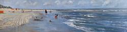 Langs de vloedlijn | strandgezicht schilderij in olieverf van Herman van Hoogdalem | Exclusieve kunst online te koop in de webshop van Galerie Wildevuur