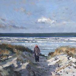 Duinovergang 1 | strandgezicht schilderij in olieverf van Herman van Hoogdalem | Exclusieve kunst online te koop in de webshop van Galerie Wildevuur