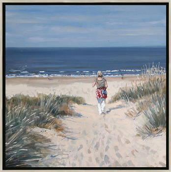 Duinovergang 2 | strandgezicht schilderij in olieverf van Herman van Hoogdalem | Exclusieve kunst online te koop in de webshop van Galerie Wildevuur