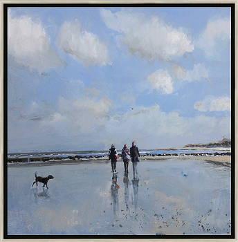 Vanaf het duin 2 | strandgezicht schilderij in olieverf van Herman van Hoogdalem | Exclusieve kunst online te koop in de webshop van Galerie Wildevuur