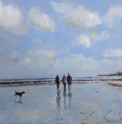 Het natte strand | zeegezicht schilderij in olieverf van Herman van Hoogdalem | Exclusieve kunst online te koop in de webshop van Galerie Wildevuur