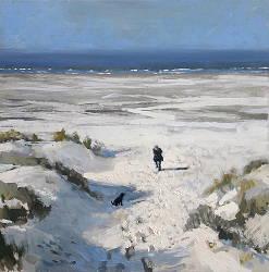 Vanaf het duin 1 | strandgezicht schilderij in olieverf van Herman van Hoogdalem | Exclusieve kunst online te koop in de webshop van Galerie Wildevuur