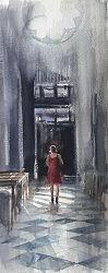 Venetie | interieur schilderij in aquarel van Herman van Hoogdalem | Exclusieve kunst online te koop in de webshop van Galerie Wildevuur