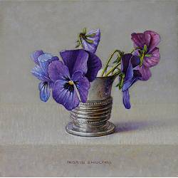 """Cornflowers in silver cup <span class=""""subtitle"""">still life painting in oil by Ingrid Smuling 