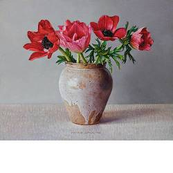 """Lamp jug with roses <span class=""""subtitle"""">still life painting in oil by Ingrid Smuling 
