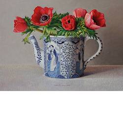Rose red and chinese blue | still life painting in oil by Ingrid Smuling now for sale online! ✓Highest quality & service ✓Safe payment ✓Free shipping