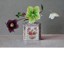 Sneeuwklokjes en blauwe glaasjes | stilleven schilderij in olieverf van Ingrid Smuling | Kijk nu online bij galerie wildevuur.nl