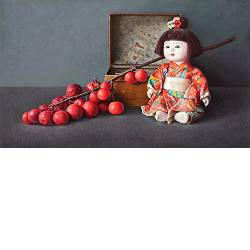 Chinese doll and apple branch | still life painting in oil by Ingrid Smuling now for sale online! ✓Highest quality & service ✓Safe payment ✓Free shipping