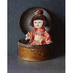 Chinese doll in old drum | still life painting in oil by Ingrid Smuling now for sale online! ?Highest quality & service ?Safe payment ?Free shipping