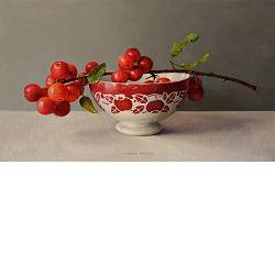 French bowl with apple branch | still life painting in oil by Ingrid Smuling now for sale online! ✓Highest quality & service ✓Safe payment ✓Free shipping
