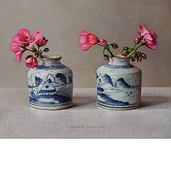 Geranium in Chinese pots | still life painting in oil by Ingrid Smuling now for sale online! ✓Highest quality & service ✓Safe payment ✓Free shipping
