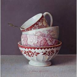 Witte hortensia in Chinese kan | stilleven schilderij in olieverf van Ingrid Smuling | Exclusieve kunst online te koop in de webshop van Galerie Wildevuur