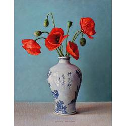Poppies in Chinese vase | still life painting in oil by Ingrid Smuling now for sale online! ?Highest quality & service ?Safe payment ?Free shipping