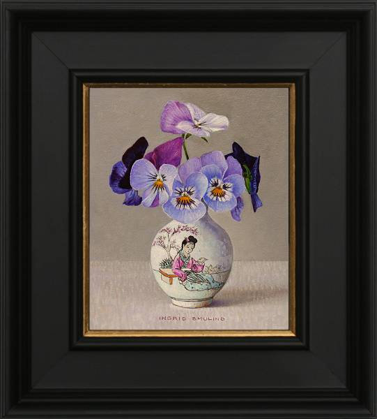 Small violets in Chinese vase