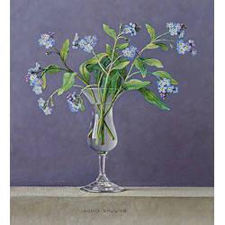 Kleine viooltjes in Chinees vaasje | stilleven schilderij in olieverf van Ingrid Smuling koopt u nu online! ?Veilig betalen ?Gratis verzending