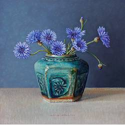 Cornflowers in green ginger jar | still life painting in oil by Ingrid Smuling now for sale online! ✓Highest quality & service ✓Safe payment ✓Free shippin