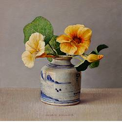 Nasturtium in Chinese pot | still life painting in oil by Ingrid Smuling now for sale online! ✓Highest quality & service ✓Safe payment ✓Free shipping