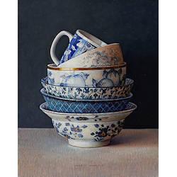 Anemonen in emaillen kan | stilleven schilderij in olieverf van Ingrid Smuling | Exclusieve kunst online te koop in de webshop van Galerie Wildevuur