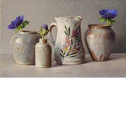 Purple-blue anemones | still life painting in oil by Ingrid Smuling now for sale online! ✓Highest quality & service ✓Safe payment ✓Free shipping