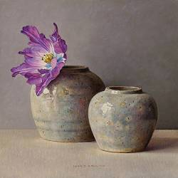 Purple tulip and ginger jars | still life painting in oil by Ingrid Smuling now for sale online! ?Highest quality & service ?Safe payment ?Free shipping