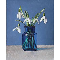 Paarse tulp en gemberpotten | stilleven schilderij in olieverf van Ingrid Smuling koopt u nu online! ?Veilig betalen ?Gratis verzending
