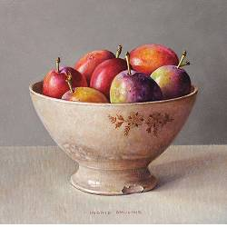 Plums in brown bowl | still life painting in oil by Ingrid Smuling now for sale online! ✓Highest quality & service ✓Safe payment ✓Free shipping