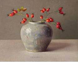 Rosehips | still life painting in oil by Ingrid Smuling now for sale online! ?Highest quality & service ?Safe payment ?Free shipping