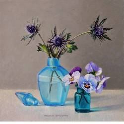 Turquoise bottle | still life painting in oil by Ingrid Smuling now for sale online! ✓Highest quality & service ✓Safe payment ✓Free shipping