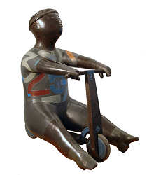 Stepje | bronzen beeld van een kind van Jan de Graaf | Exclusieve kunst online te koop in de webshop van Galerie Wildevuur