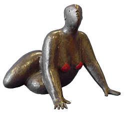 Baadster I | bronzen beeld van een vrouw van Jan de Graaf | Exclusieve kunst online te koop in de webshop van Galerie Wildevuur