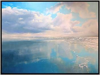 Spiegelstrand | zeegezicht in olieverf van Janhendrik Dolsma koopt u nu online! ✓Hoogste kwaliteit & service ✓Veilig betalen ✓Gratis verzending