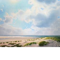 View on Vlieland | seascape painting in oil by Janhendrik Dolsma now for sale online! ✓Highest quality & service ✓Safe payment ✓Free shipping