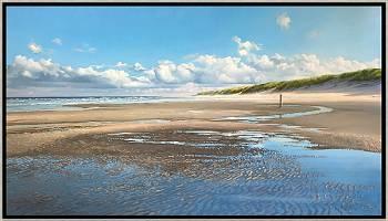 Nevelig strand | zeegezicht in olieverf van Janhendrik Dolsma | Exclusieve kunst online te koop in de webshop van Galerie Wildevuur