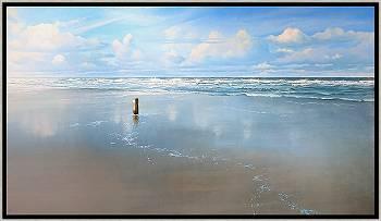 Strandpaaltje | zeegezicht in olieverf van Janhendrik Dolsma koopt u nu online! ✓Hoogste kwaliteit & service ✓Veilig betalen ✓Gratis verzending