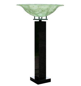 Bokaal op zuil | glazen schaal op voetstuk van Jelle Leek | Exclusieve kunst online te koop in de webshop van Galerie Wildevuur