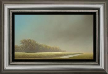 Langs de Aa II | schilderij van een landschap in olieverf van Johan Abeling koopt u nu online! ✓Hoogste kwaliteit ✓Veilig betalen ✓Gratis verzending