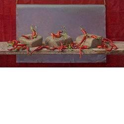 Vrolijke rode peper | stilleven schilderij in olieverf van Joke Frima | Exclusieve kunst online te koop in de webshop van Galerie Wildevuur