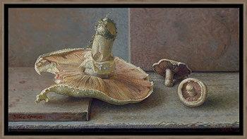 Weide champignons | stilleven schilderij in olieverf van Joke Frima | Exclusieve kunst online te koop in de webshop van Galerie Wildevuur