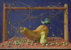 Het Mysterie van de watermeloenen   stilleven schilderij in olieverf van Joke Frima   Exclusieve kunst online te koop in de webshop van Galerie Wildevuur