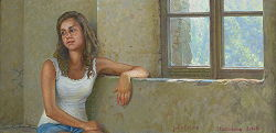 Sara poseert | model schilderij in olieverf van Joke Frima | Exclusieve kunst online te koop in de webshop van Galerie Wildevuur