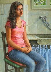 Sara | model schilderij in olieverf van Joke Frima | Exclusieve kunst online te koop in de webshop van Galerie Wildevuur