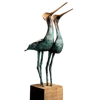 A love affair | vogel beeld in brons van Leon Veerman | Exclusieve kunst online te koop in de webshop van Galerie Wildevuur