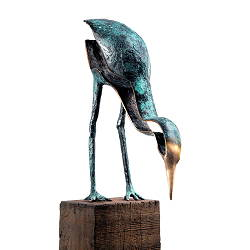 Exercise in patience | bird sculpture in bronze by Leon Veerman now for sale online! ?Highest quality & service ?Safe payment ?Free shipping