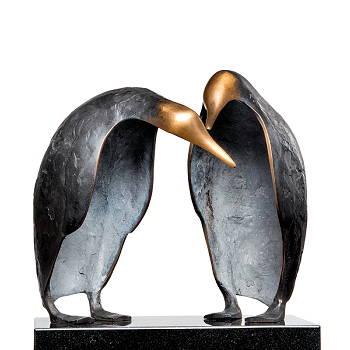 De kennismaking | vogel beeld in brons van Leon Veerman | Exclusieve kunst online te koop in de webshop van Galerie Wildevuur