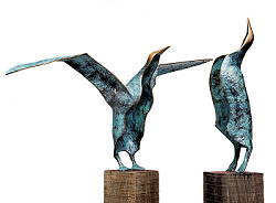 Albatross odyssee 3: The reunion | bronze sculpture by Leon Veerman now for sale online! ?Highest quality & service ?Safe payment ?Free shipping