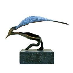 Druk II | beeld van een vogeltje in brons van Leon Veerman | Exclusieve kunst online te koop in de webshop van Galerie Wildevuur
