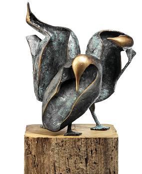 Allemaal kopzorgen | bronzen beeld van een vogel van Leon Veerman koopt u nu online! ✓Hoogste kwaliteit ✓Veilig betalen ✓Gratis verzending