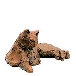 Liggende kat | dieren beeld in brons van Maja van Berkestijn koopt u nu online! ✓Hoogste kwaliteit & service ✓Veilig betalen ✓Gratis verzending