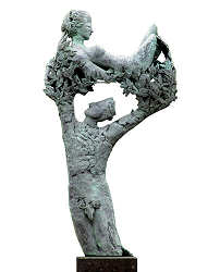 Apollo and Daphne | model sculpture in bronze by Marion Visione now for sale online! ?Highest quality & service ?Safe payment ?Free shipping